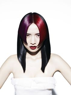red purple and black hair. Two-tone fringe bangs