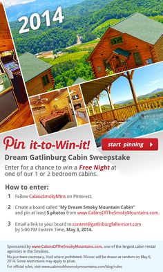 1000 images about pin win sweepstakes on pinterest for Www cabins of the smoky mountains com