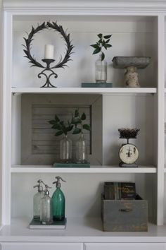 Clearing your Shelves - Magnolia Homes decorating built ins