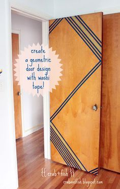This is a fantastic idea, especially if you have old doors, live in an apartment or dorm room. Geometric washi tape door design #DIY #washitape | crab+fish