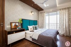 Budget Interiors for Flats in Pune at Kunal Aspiree Hotel Bedroom Decor, Indian Bedroom Decor, Bedroom Ideas, Budget Bedroom, Modern Bedroom Design, Bed Design, House Design, Garden Design, Study Room Design