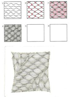 Online instructions for drawing CZT Anna Houston's Zentangle® pattern: Bask-it. Tangle Doodle, Tangle Art, Zen Doodle, Doodle Art, House Doodle, Zentangle Drawings, Doodles Zentangles, Doodle Drawings, How To Zentangle