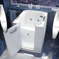 "Avano AV3238LD Walk-In Tubs 37-1/4"" Acrylic Air / Whirlpool Bathtub for Alcove Installations with Left Drain, Roman Tub Faucet"