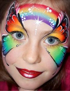 Rainbow Butterfly Face Paint Rainbow