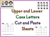 Print sheet, have kids cut out letters and paste them to the sheets. Upper case on the left side and lower case on the right.   Kids will have fun learning to recognize letters and sounds.