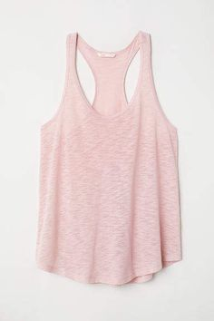 Racerback tank top in airy, linen slub jersey with a rounded hem. Casual Wear Women, Strapless Tops, Funny Tank Tops, Summer Tank Tops, Business Dresses, Powder Pink, Racerback Tank Top, Black Tank Tops, Plus Size Fashion