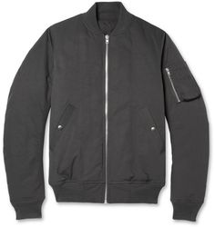 Charcoal Bomber Jacket by Rick Owens. Buy for $2,285 from MR PORTER
