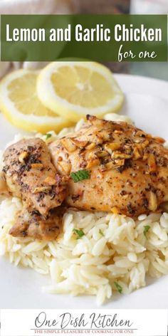 Easy to make and full of flavor, this Lemon and Garlic Chicken recipe is one for your recipe file. This single serving meal cooks in under 30 minutes and can be cooked in the oven or on the grill. Serve over rice or orzo pasta. For a low carb variation, serve in a lettuce wrap.