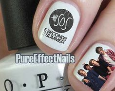 5sos Nails, 5 Seconds Of Summer, Diy Nails, Pretty Nails, Hair And Nails, Nail Polish, Nail Art, Makeup, Board