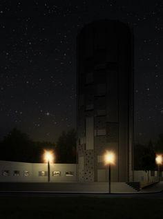 Night visualization, Blanka tunnel, chimney, climbing wall.