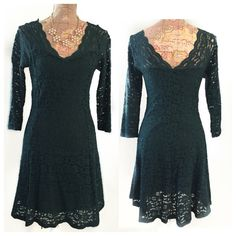 "Host pick Holiday Green lace dress Beautiful pre loved green lace dress Selected Host Pick in the Best in Dresses and skirts party Nov 5th. Beautiful green lace dress with v neck opening in front and back. Has a flirty and girly flared skirt. Perfect for twirling. Wears very comfortably with a form fitting body con type fit. Has stretch to it. The measurements for this dress laying flat are as follows Bust un-stretched is 16"" can stretch out to 20"" W:14 - stretches to 18"" L:36"" Charlotte…"