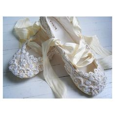 White Slippers: Champagne Wedding Ballet Shoes, Bridal flats, Bobka... via Polyvore