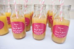 Drinks reception at a Wedding with a difference - served in retro bottles with custom couple name labels