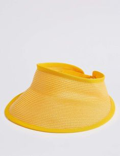 M S Collection Woven Visor Hat in canary yellow. Click link for other  colours  ad 9c13d5ee2904