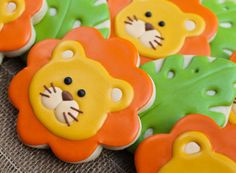 Lion Cookies~ By SweetTweets - Safari Zoo Jungle Lion Cookies - 1 dozen, Orange