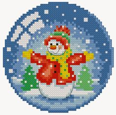 Cross-stitch snowman