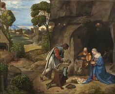 Titolo Adorazione dei pastori Allendale Autore Giorgione Data e periodo 1500-1505 ca. Rinascimento Materiale e tecnica olio su tavola Luogo di conservazione National Gallery Washington