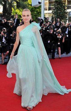 @roressclothes clothing ideas #women fashion Diane Kruger: Vintage Mint Chiffon Giambattista Valli One Shoulder Dress