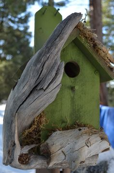 Unique Bird Houses   Unique Birdhouse in Eden Green Free by BirdhousesByMichele, $75.00