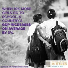 Educating women and girls is the single fastest way to improve the economy of any country - has been demonstrated time and time again.