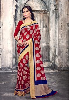 #Maroon #Art #Silk #Saree With #Blouse.  #Maroon #Art #Silk #Saree #designed with #Printed #work. As shown #Maroon #Art #Silk #Blouse #fabric is available.   INR: 905.00  With Exclusive Discounts   Grab: http://tinyurl.com/hjuuqxj