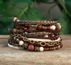 Hey, I found this really awesome Etsy listing at https://www.etsy.com/listing/154060631/leather-wrap-bracelet-brown-cream-and