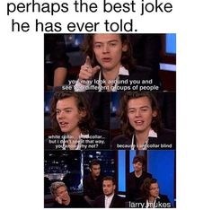 Zayn is like Harry meet me after this interview I am gonna kill you ....louis is like yup we endure this type of torture ...liam is like I am sorry for all those people who have heard that joke ...