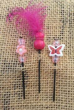 Pink Flowers and Butterflies Push Pin Set by GrlFridayProductions, $5.00