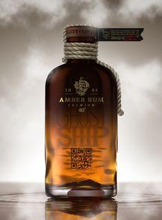Ghost Ship Rum concept packaging by Galya Akhmetzyanova Pavla Chuykina 05 Rum Bottle, Liquor Bottles, Alcohol Bottles, Rum Cocktails, Alcoholic Drinks, Booze Drink, Alcohol Spirits, Wine And Spirits, Beverage Packaging