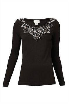 Witchery Jewel Long Sleeve Top - love the jewel detail #witcherywishlist