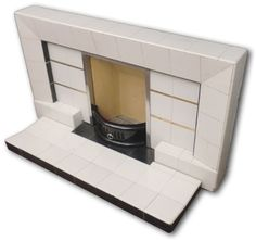 1950s tiled fireplace with gold metallic detail