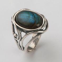 Natural labradorite ring - Nebula ring - Bezel ring - Round ring - Blue ring - Gemstone ring - Gifts