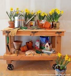 Beautiful potting bench that doubles as an outdoor bar cart with very detailed DIY instructions