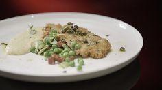 Girello Cotoletta with Polenta and Broad Bean Salad