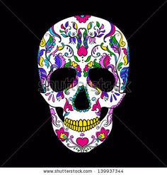 Vector colorful Sugar Skull. Day of the Dead