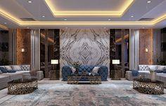 When modern meet islamic. Kuwait on Behance House Ceiling Design, Bedroom False Ceiling Design, High Ceiling Living Room, My Living Room, Corporate Interior Design, Living Room Tv Unit Designs, Living Room Decor Inspiration, Home Room Design, Luxury Homes Interior