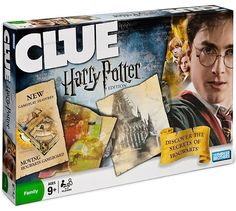 "Clue Harry Potter - ""Discover the secrets of Hogwarts in classic CLUE fashion and be prepared for anything; the wheels on the board actually move to reveal secret passages, hidden staircases, and even the Dark Mark !"""
