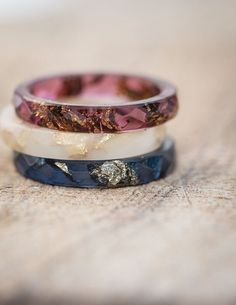 Deep Blue Resin Stacking Ring Gold Flakes Thin Faceted Ring OOAK minimalist jewelry indigo blue #etsy [affiliate link]