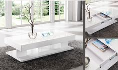 Verona Extendable High Gloss Coffee Table In White - High Gloss Coffee Tables, Coffee Tables