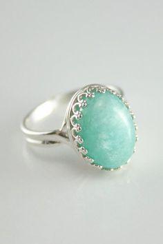 Amazonite ring Mint Green
