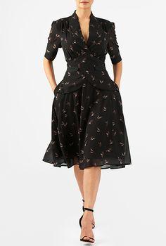 Puff sleeve peplum bird print georgette dress #eShakti