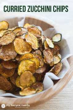 Curried, Baked Zucchini Chips Recipe - these are a quick, easy snack that you can make ahead of time and are crunchy, healthy and have unexpected flavor from the curry powder. {Paleo, Gluten Free, Clean Eating, Vegan, Dairy Free}