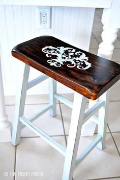 stenciled and painted bar stools- i have these stools! Bought them for 6 dollars and they need a major face lift! Plus this matches my table perfectly!