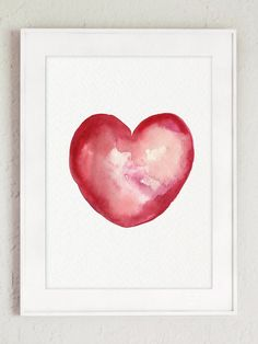 Vibrant Heart Watercolor Painting Red Heart by ColorWatercolor