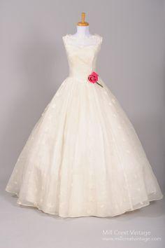 1950's Silk Organza Southern Bell Vintage Wedding Gown : Mill Crest Vintage