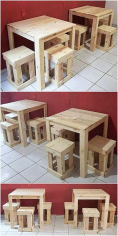 Crafting with Wood Pallets – Wondrous Pallet Creations & Projects Bar Pallet, Wood Pallet Tables, Diy Pallet Sofa, Diy Pallet Furniture, Diy Pallet Projects, Wood Pallets, Woodworking Projects, Woodworking Plans, Pallet Bed Frames