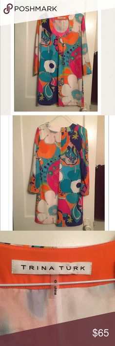 Trina Turk 100% silk 3/4 sleeve dress Beautiful colorful silk dress, flawless. Trina Turk Dresses Long Sleeve