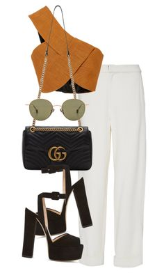 A fashion look from August 2017 featuring layered tops, high-waisted trousers and platform sandals. Browse and shop related looks. Look Fashion, Fashion Outfits, Womens Fashion, Fashion Trends, Prep Fashion, Classy Outfits, Stylish Outfits, Rock Outfits, Emo Outfits
