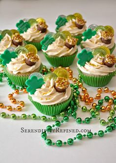 Serendipity Refined Blog: Bailey's Irish Cream Pot of Gold Cupcake Recipe