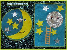 Hier matin la minette a été très productive !!! Deux assiettes peintes, une en bleu nuit, et la deuxième en jaune. Puis pour finir les restes de peinture, une feuille peinte en bleu nuit. Et ensuite ... Toddler Crafts, Crafts For Kids, Arts And Crafts, Art Crafts, Good Night Moon, Day For Night, Toddler Sunday School, Family Child Care, Ramadan Crafts